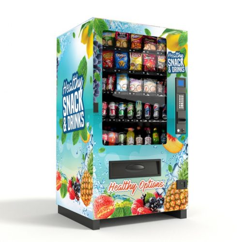 A picture of one of vending machines. Light blue, with colorful fruits on it