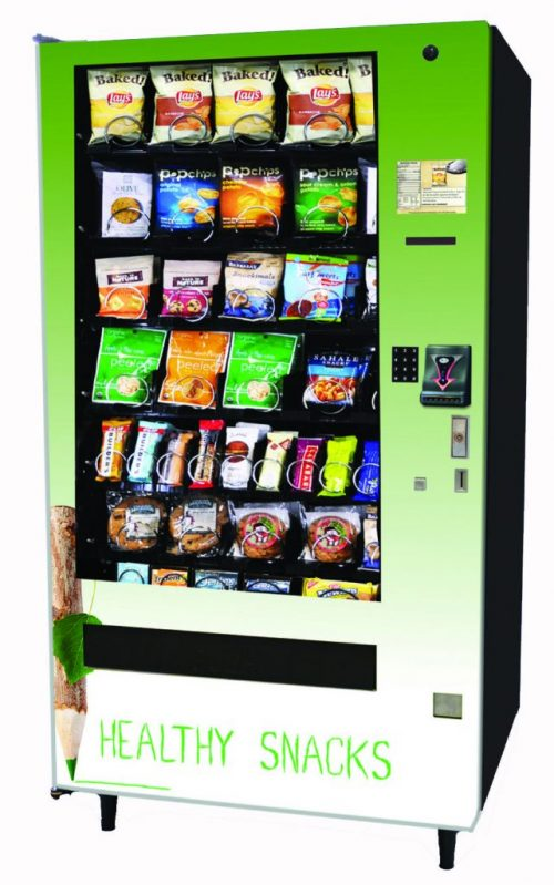 A picture of one of our green very nice, very modern vending machines, with healthy options inside.