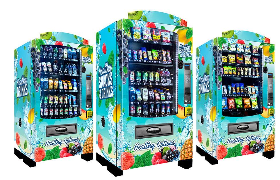 A picture of our healthy vending machines.3 of them