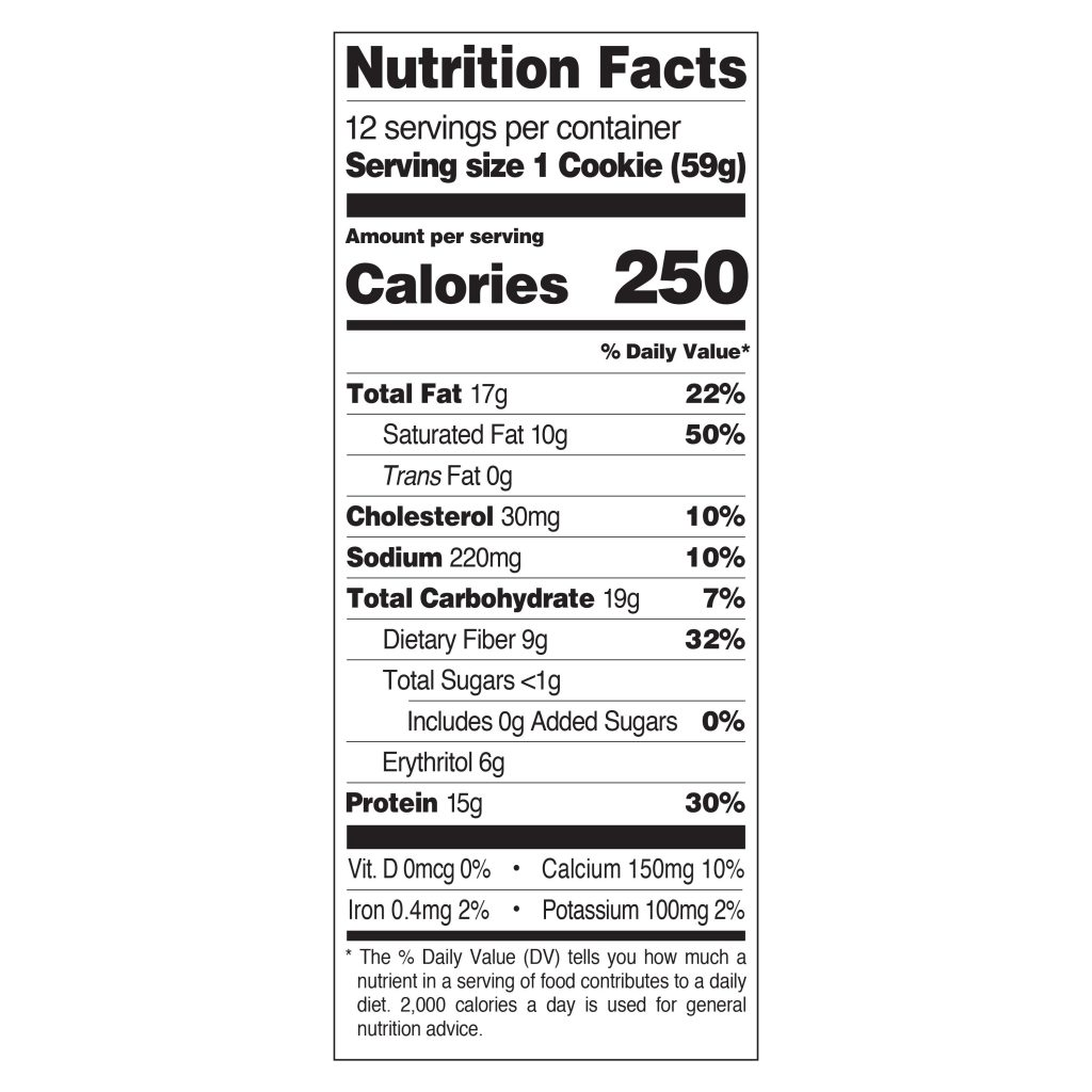 Quest Protein cookie nutrition facts. List all fats, calories, carbs etc of the protein cookie