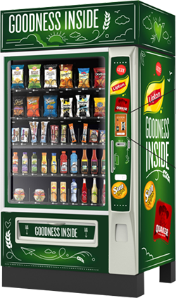 A picture of a healthy vending machine. The Healthy Vending Machine is green and says goodness inside.