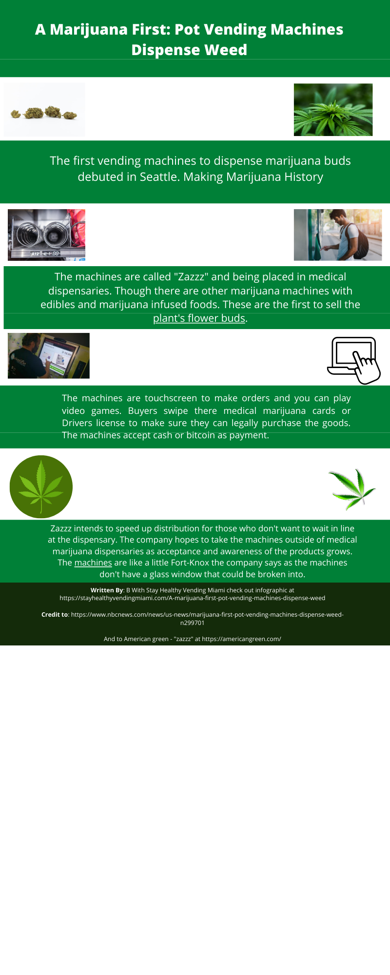 An info-graphic of A Marijuana First: Pot Vending Machines Dispense Weed. Explaining the new vending machines being installed that sell marijuana flower buds. The first vending machines to do this. Other machines sell edibles and food infused marijuana but don't sell actual marijuana flower buds