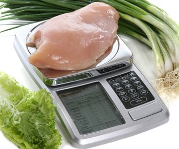 Get lean meal plan scale.  A scale showing a chicken breast being weighed. I had to weigh all my food while on this plan