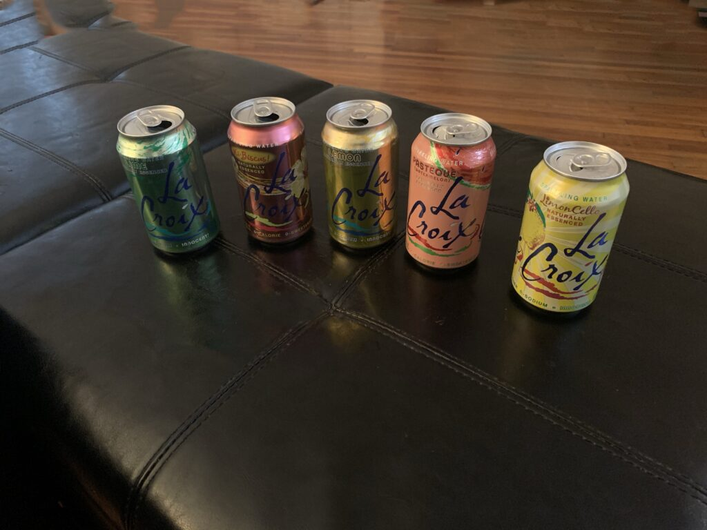 This is a picture of some vending machine snacks. A picture of La Croix's our most popular drink/snack