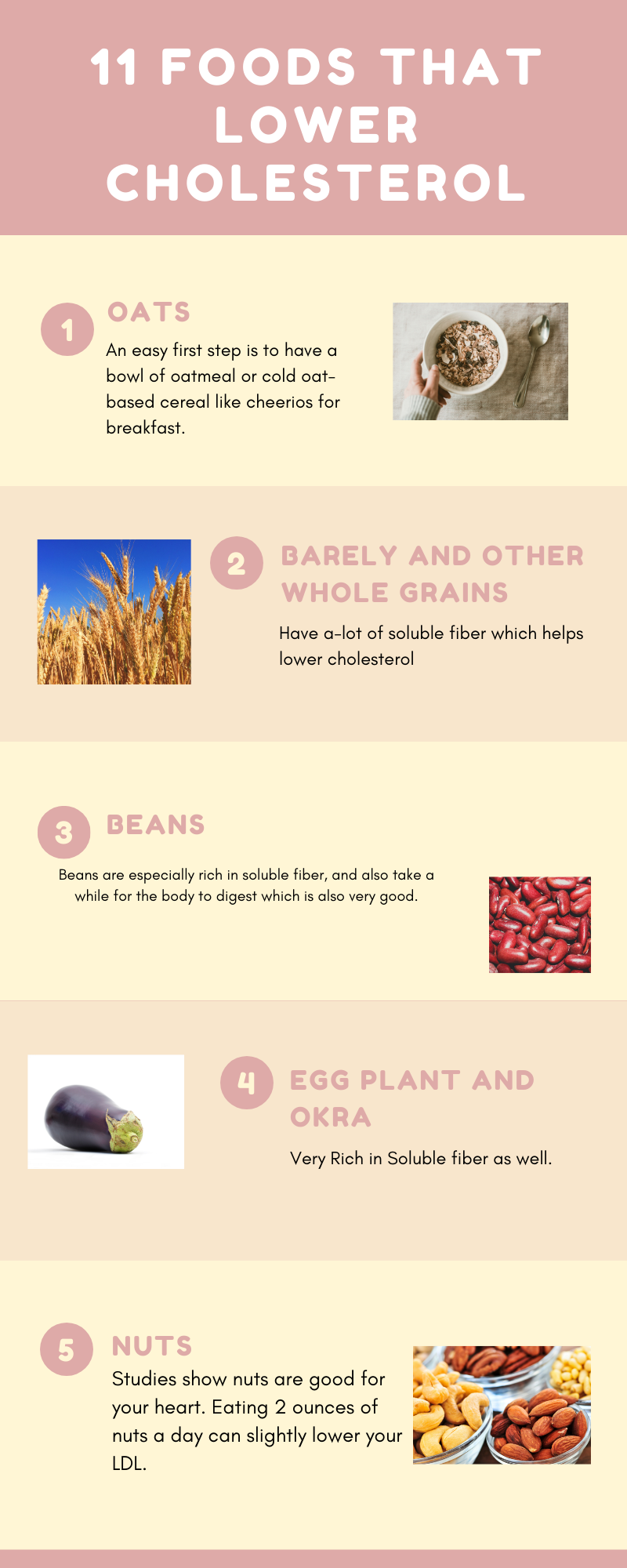 Infographic on 11 Foods that lower cholesterol