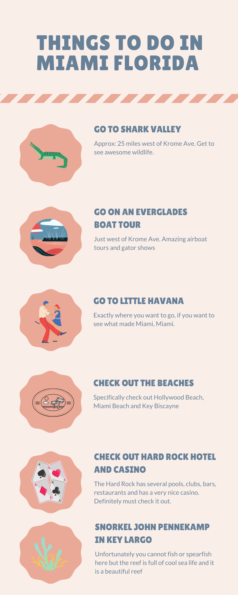Infographic of Things to do in Miami Florida. A list of things of to  do in Miami, not in a particular order
