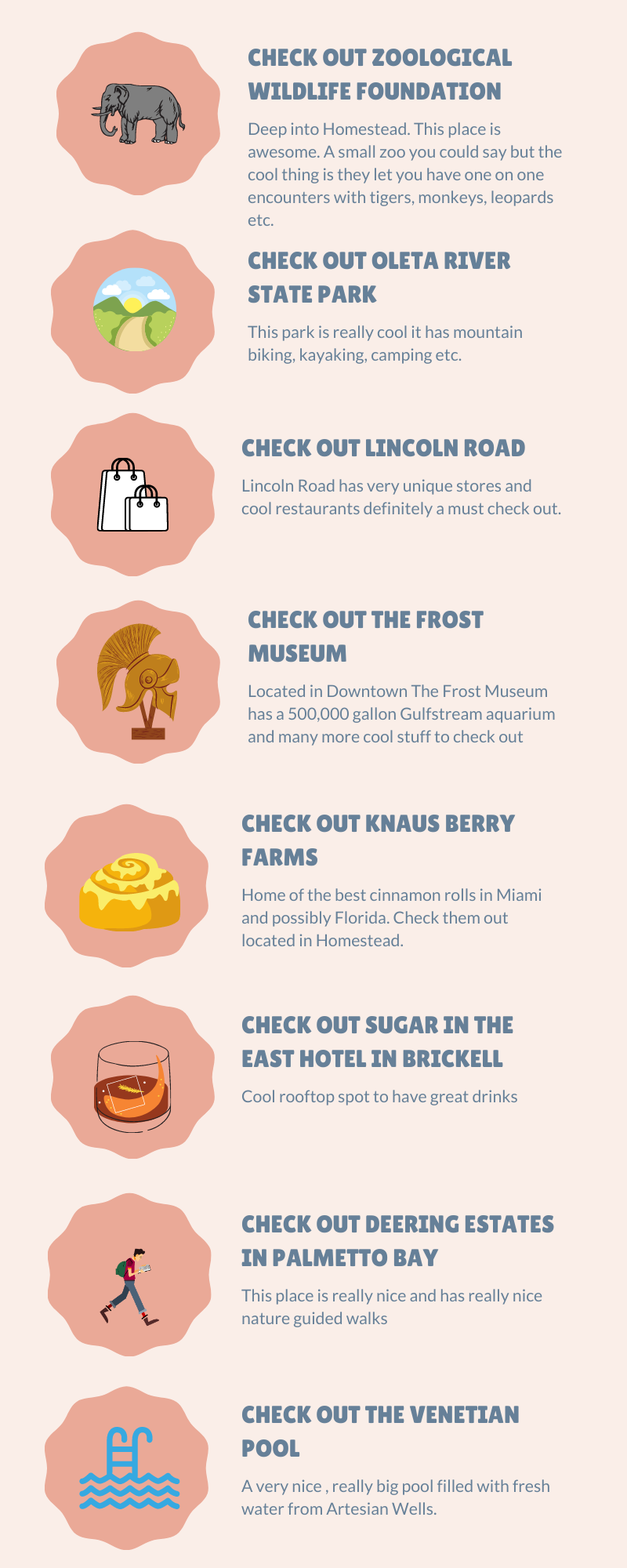 Infographic of Things to do in Miami Florida. Listed in no particular order.