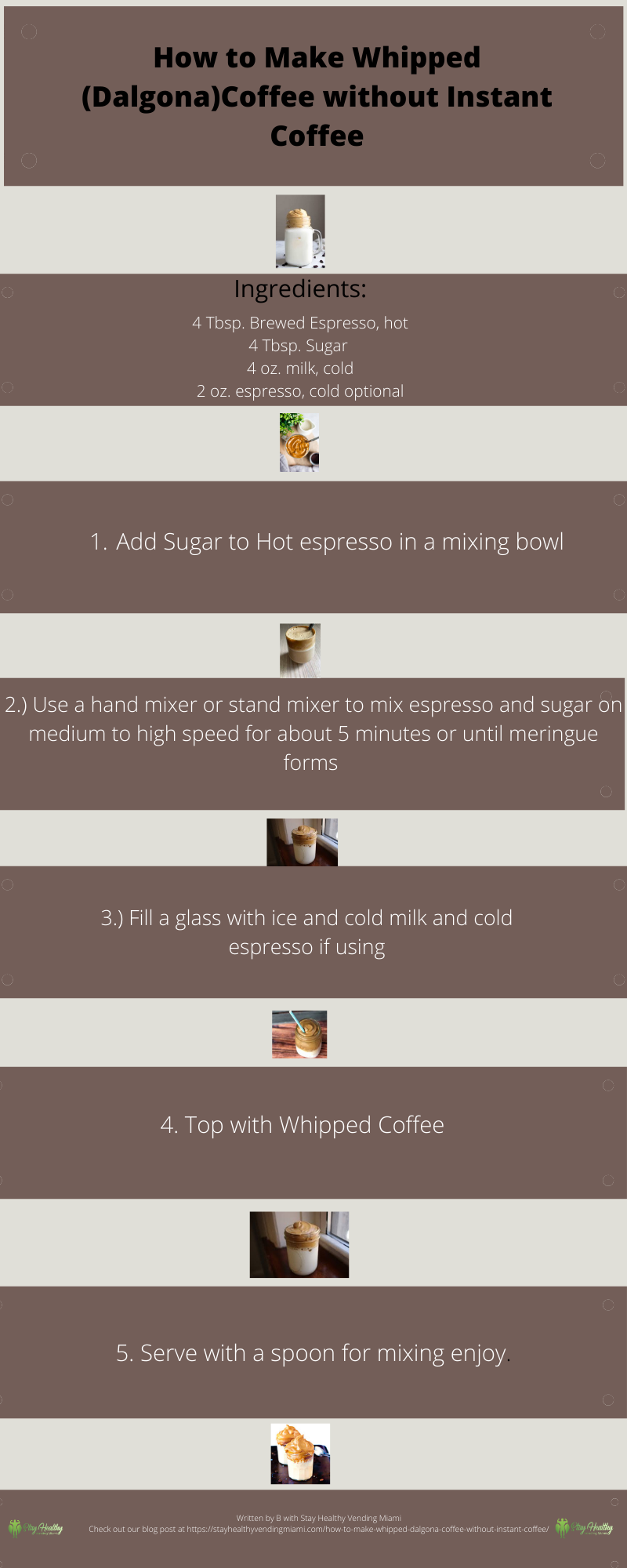 infographic on how to make whipped coffee without instant coffee. Delicious recipe. 100% vegan friendly. Espress, cold milk, sugar, an electric mixer or hand mixer and that's pretty much all you need.