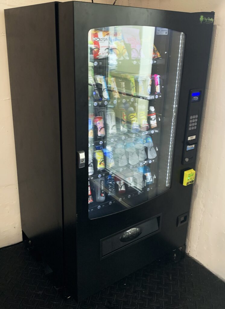 A picture of a combination vending machine which can have a stock of sodas and snacks. This is definitely a good vending machine for most locations. As a business we recommend these a-lot they are very nice and have all the products you need. These machines are great for an office setting. The average cost of these are from $4,000 to $10,000. Like stated customer service is our number one goal as a vending machine business so we service our vending machines always.